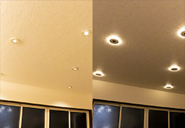ツイン配光のダウンライトで、いつものリビングが全く違う雰囲気に…既設ダウンライトとの取り替えも可能です。